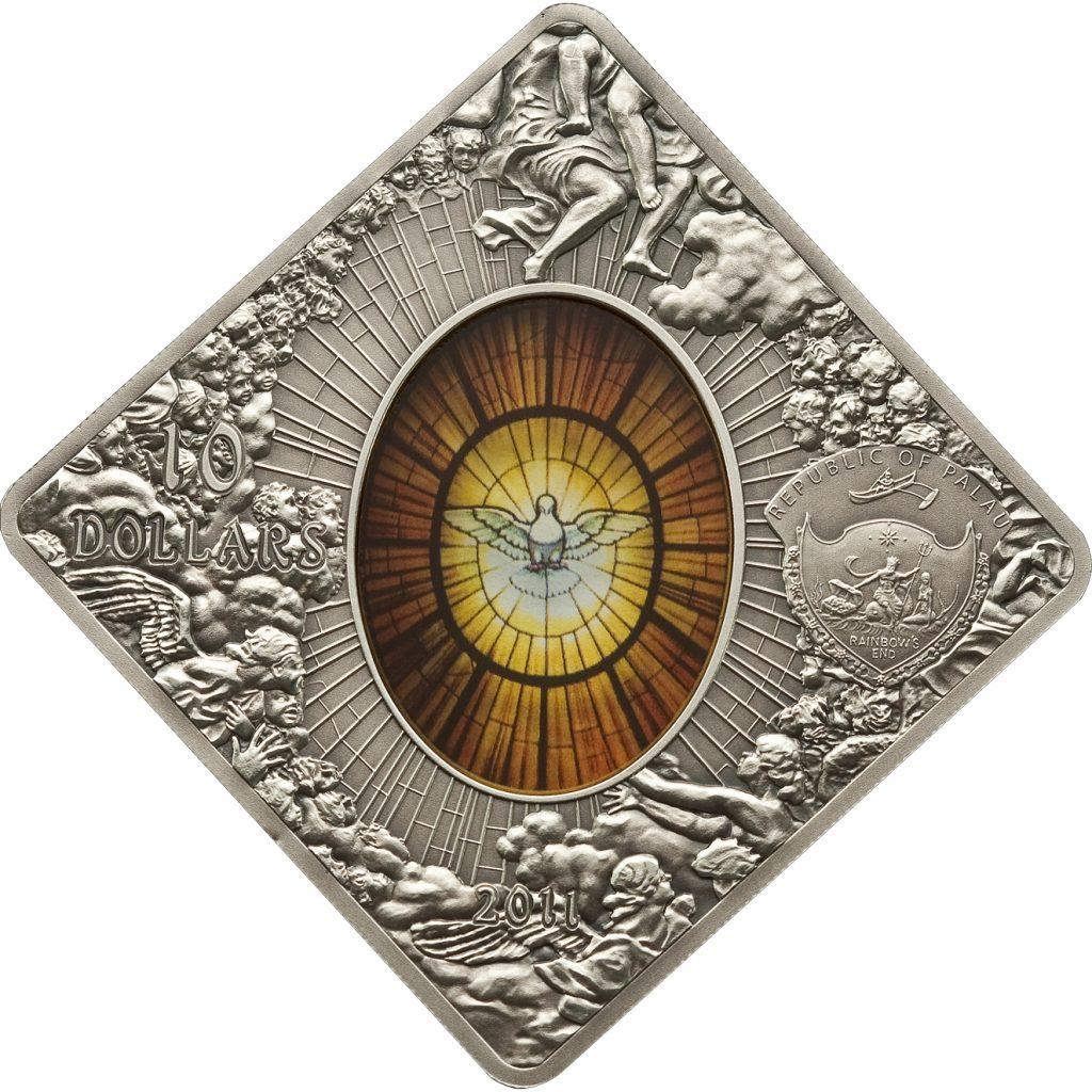 Palau 2011 10 Dollars Basilica Sancti Petri Silver Coin