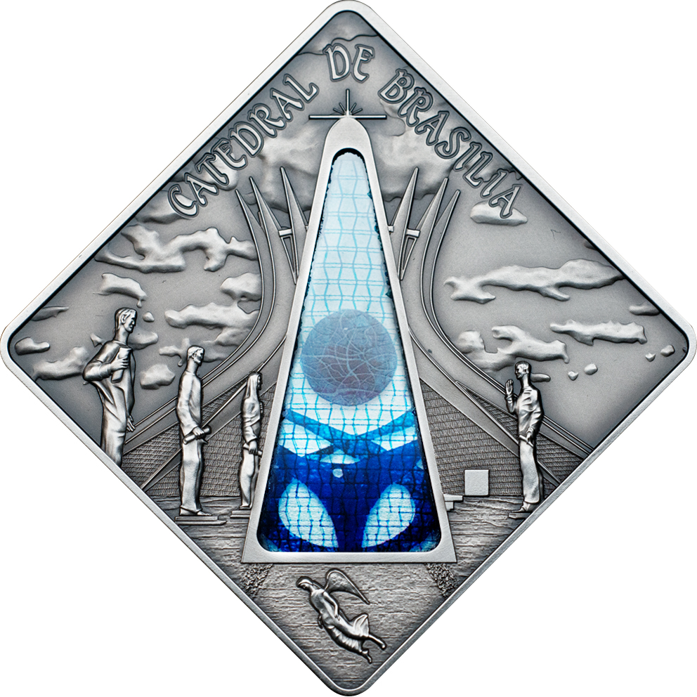 Palau 2012 10 Dollars Brasilia Cathedral Brazil Silver Coin