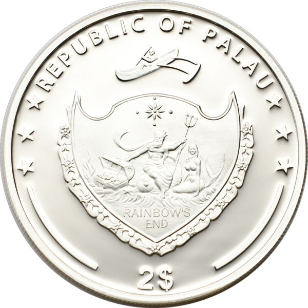 Palau 2013 2 Dollars Litoria Caerulea Silver Coin