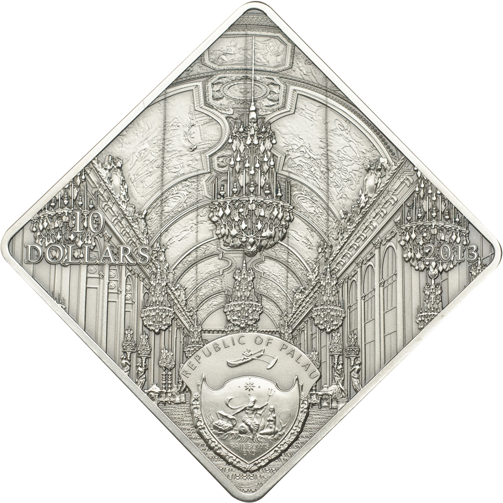 Palau 2013 10 Dollars Versaille Hall of Mirros Silver Coin