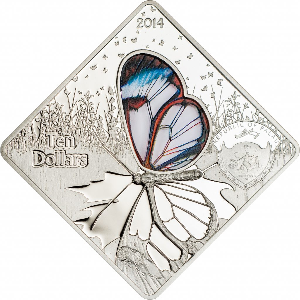 Palau 2014 10 Dollars Butterfly Greta Oto Glass Insert Silver Coin