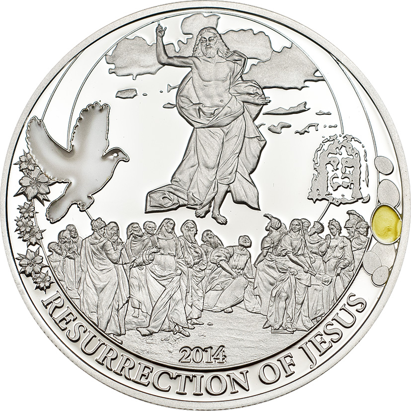 Palau 2014 2 Dollars Resurrection of Jesus Easter Egg Edition Silver Coin