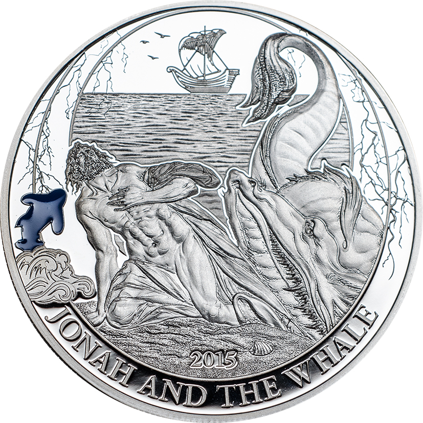 Palau 2015 2 Dollars Jonah and the Whale Silver Coin