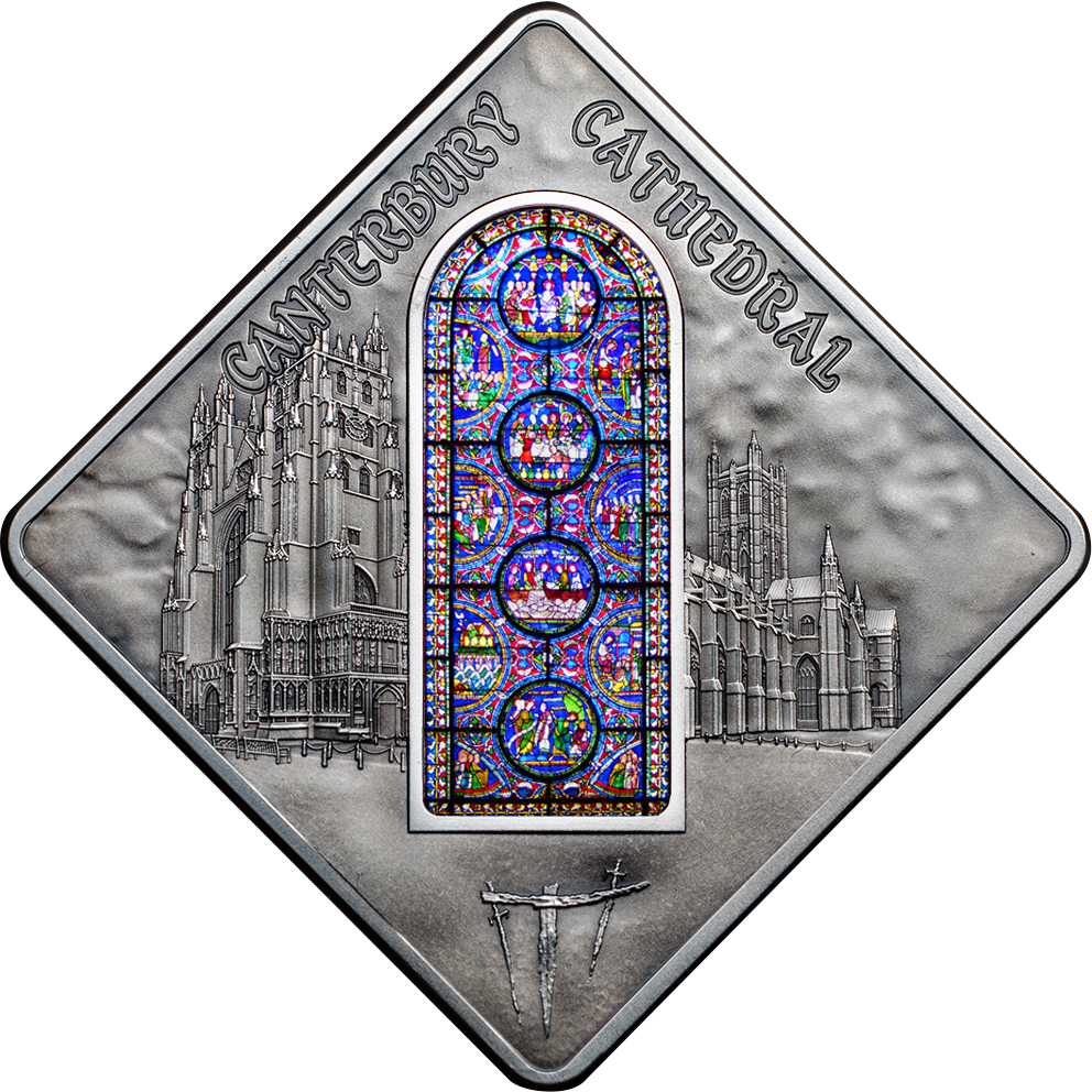 Palau 2015 10 Dollars Cateburry Cathedral Silver Coin