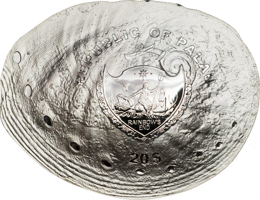 Palau 2016 20 Dollars Haliotis Ovina Sheep Ear Abalone Silver Coin