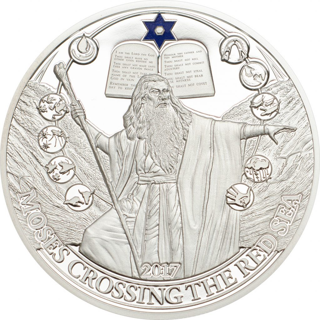 Palau 2017 Moses Crossing the Red Sea Silver Coin