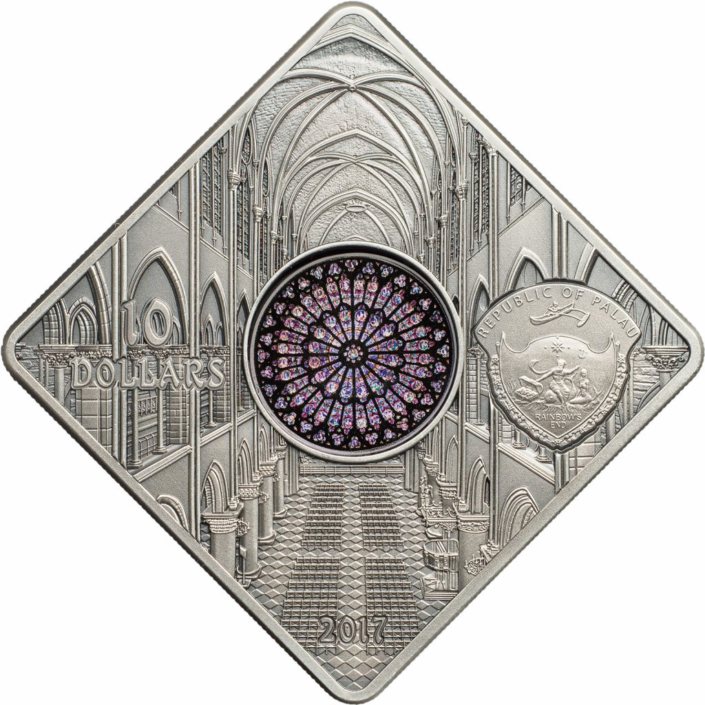 Palau 2017 10 Dollars Notre Dame Cathedral Silver Coin