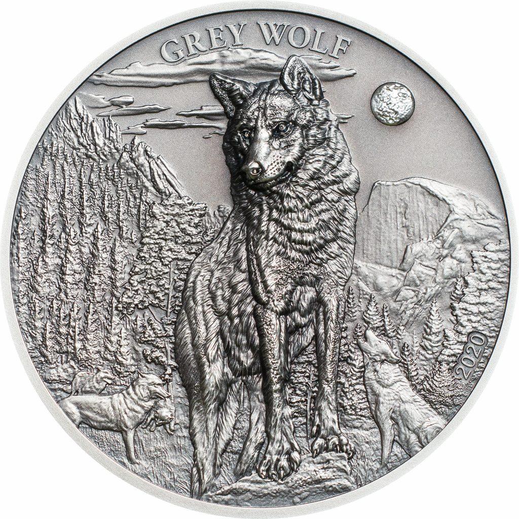 Palau 2020 5 Dollars Grey Wolf Silver Coin