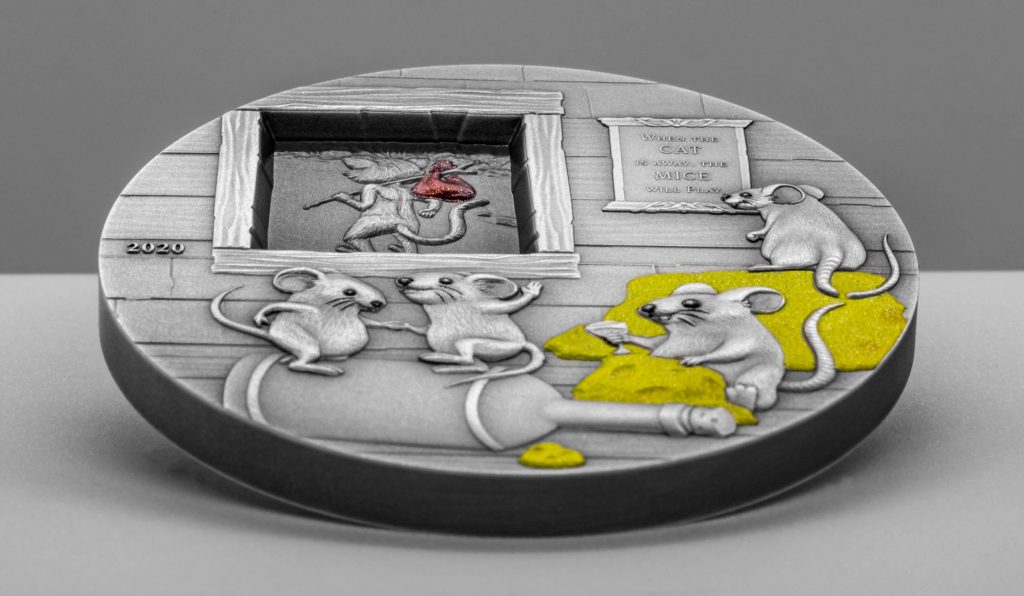 Palau 2020 10 Dollars When the cat is away the Mice will Play Silver Coin