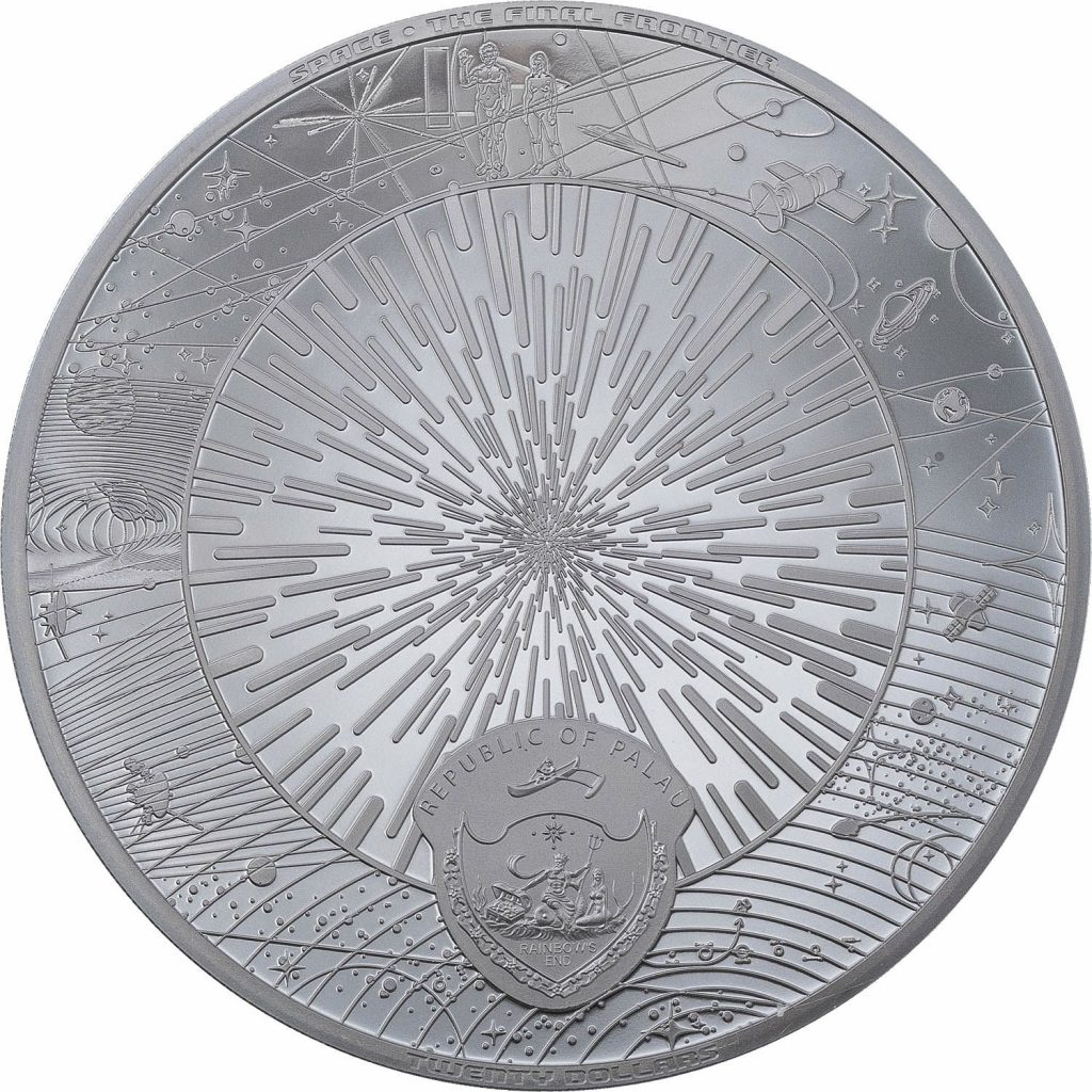 Palau 2021 20 Dollars The Milky Way - Space the Final Frontier silver black proof coin