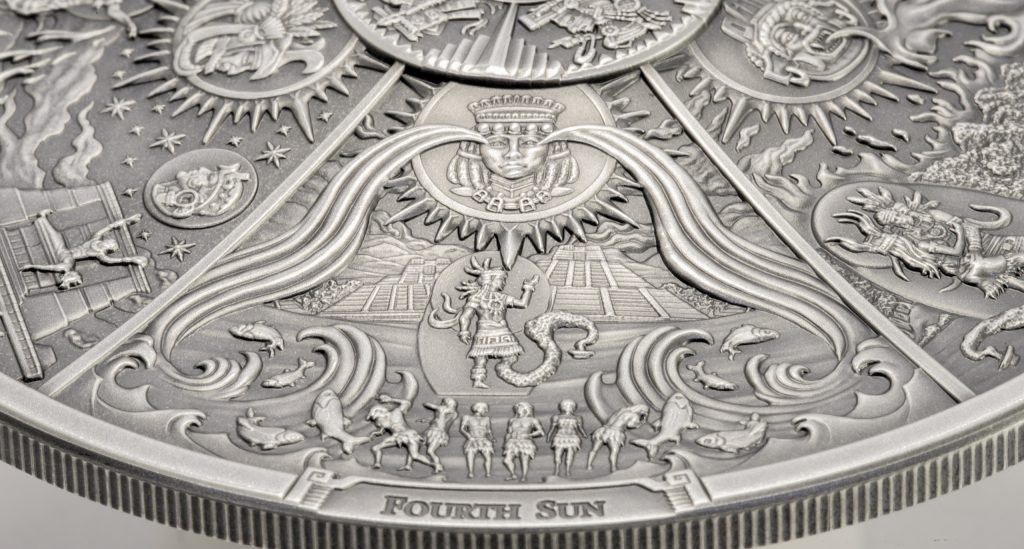 Palau 2021 20 Dollars Aztec Five Suns - Antique Ages of Man Pure Silver Coin