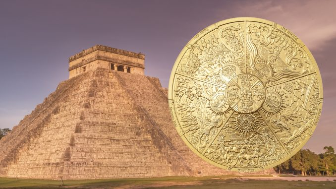 Palau 2021 20 Dollars Aztec Five Suns - Gilded Ages of Man Pure Silver Coin