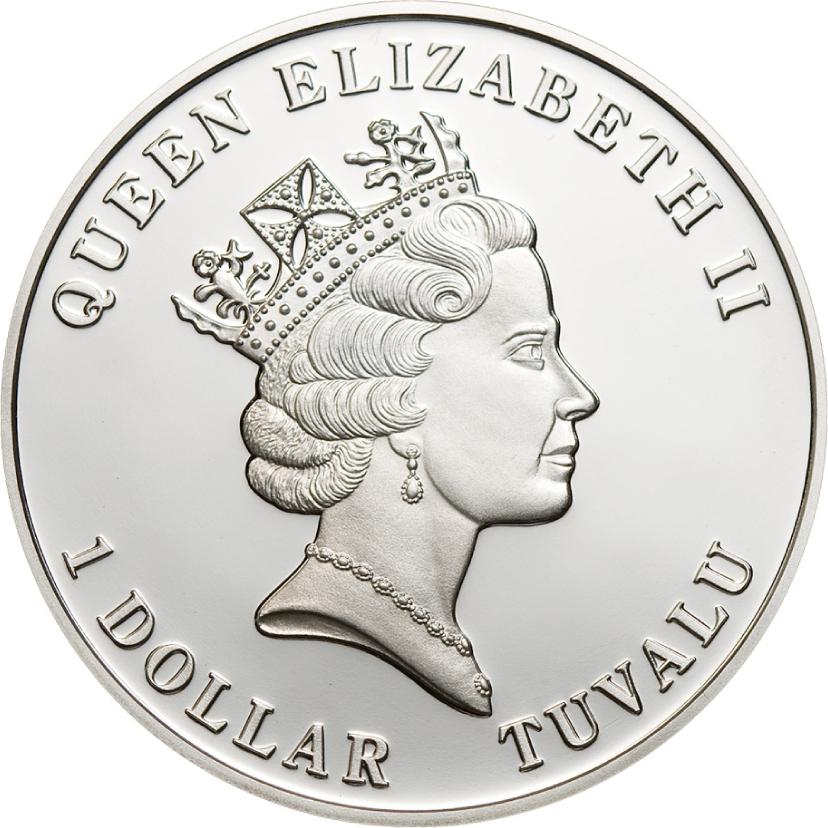 Tuvalu 2011 1 Dollar Dendrogyra Cylindricus Silver Coin