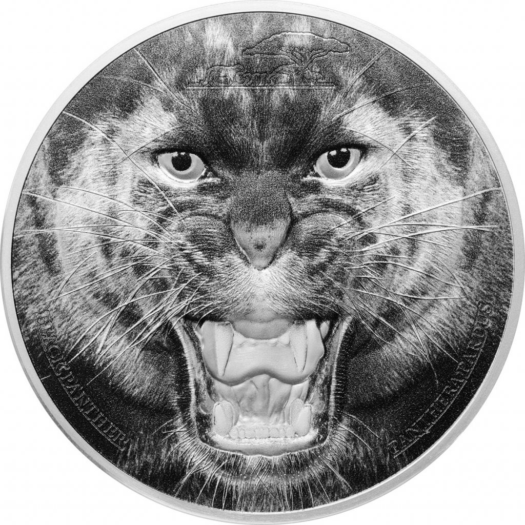 Tanzania 2016 1500 Shillings The Black Panther Silver Coin