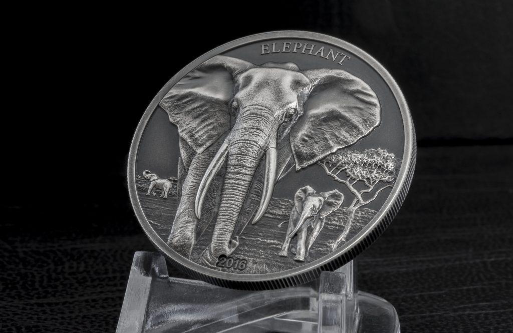 Tanzania 2016 1000 Shillings Elephant Silver Coin