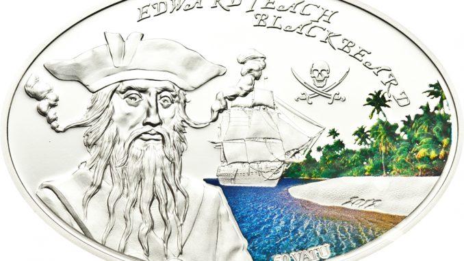 Vanuatu 2012 50 Vatu Edward Teach Blackbeard Silver Coin
